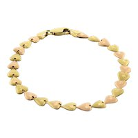 "Vintage 14K Yellow Rose Gold Heart Link Bracelet Brushed Finish Ladies Girls 7"""