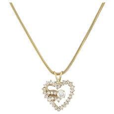 "Estate Heart Diamond Pendant 14K Yellow Gold 2.40 CTW Diamonds Snake Chain 20"""