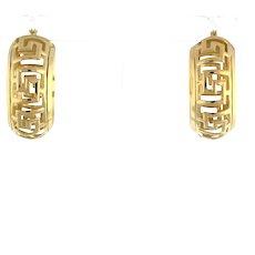 """Estate Greek Key Huggie Hoop Earrings 14K Yellow Gold 1"""" Round Hoop 9.5mm Ladies"""