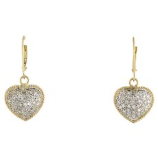 Vintage Cluster Diamond Heart Dangle Earrings 14K Two-Tone Gold 0.75 CTW Ladies