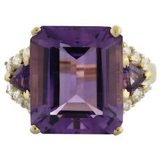Vintage Amethyst Diamond Statement Ring 14K Yellow Gold 8.11 TW Ladies Size 7.25