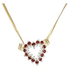 Estate Ruby Open Heart Diamond Pendant Necklace 14K Yellow Gold Herringbone 17""