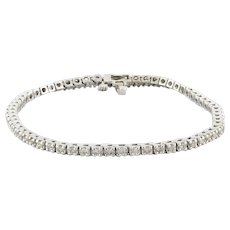 Estate Diamond Tennis Bracelet 14K White Gold 2.00 CTW Round Diamonds 7.25""