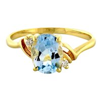 Vintage Blue Topaz Diamond Cocktail Ring 14K Yellow Gold 2.55 TW Oval Gem 9 x 7