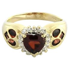 Estate Heart Garnet Diamond Ring 10K Yellow Gold 1.40 CTW Ladies Size 8.75