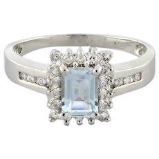 Vintage Emerald Cut Aquamarine Diamond Halo Dress Ring 14K White Gold 1.30 TW 10