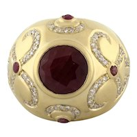 Estate Ruby Diamond Dome Ring 14K Yellow Gold 6.00 CTW 10 mm Round Ruby SZ 7.25
