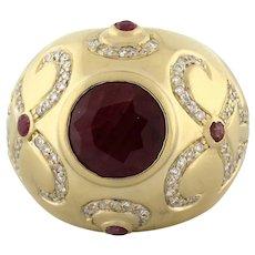 Estate Ruby Diamond Dome Ring 14K Yellow Gold 6.00 CTW 10 mm Round Ruby SZ 7.25