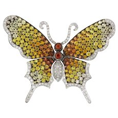 Estate Butterfly Multi-Sapphire Diamond Brooch Pin 18K White Gold 15.00 CTW