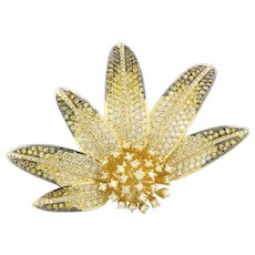 Estate Multi-Color Sapphire Diamond Flower Brooch Pin 18K Yellow Gold 9.50 CTW