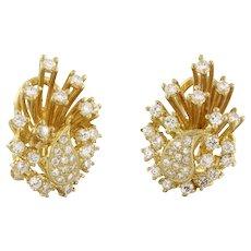 Estate Diamond Cluster Drop Earrings 18K Yellow Gold 1.50 TW F/G VS Omega Backs
