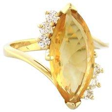 Estate Marquise Citrine Diamond Statement Ring 14K Yellow Gold 5.85 CTW Ladies