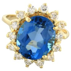 Estate Swiss Blue Topaz Diamond Floral Cocktail Ring 14K Yellow Gold 7.00 TW 7.5
