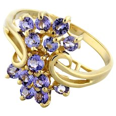 Vintage Tanzanite Gemstone Cascade Ring 14K Yellow Gold 1.00 CTW Round Gems SZ 7
