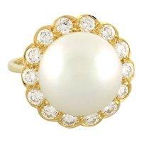 Estate South Sea Pearl Diamond Cocktail Ring 18K Yellow Gold 2.00 CTW Dia Ladies