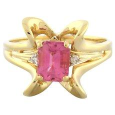 Vintage Pink Tourmaline Diamond Cocktail Ring 14K Yellow Gold Ladies 1.64 CTW