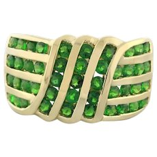 Estate Tsavorite Green Gem Crossover 4-Row Ring 14K Yellow Gold 2.50 TW Ladies 7