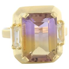 Vintage Ametrine White Topaz Gemstone Statement Ring 14K Yellow Gold 7.25 CTW 7