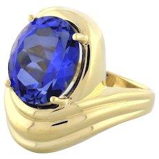 Estate London Blue Topaz Gemstone Swirl Ring 10K Yellow Gold 12 x 10 mm Size 7