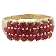 Estate Ruby 3-Row Ladies Band Ring 10K Yellow Gold 3.30 CTW Round Gems Size 8