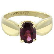 Vintage Pink Tourmaline Gemstone Ring 10K Yellow Gold 1.18 CTW 6 x 8mm Oval SZ 7