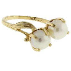 Vintage Pearl Cocktail Ring 14K Yellow Gold Claw Set 6 mm Pearls Ladies Size 5