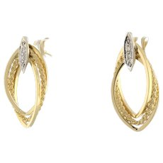 Estate 3-Strand Diamond Earrings 14K Two-Tone Gold 0.20 CTW Twisted Cable Ladies