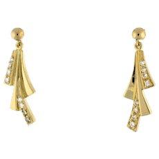 Estate Diamond Ladies Drop Dangle Earrings 14K Yellow Gold 0.20 CTW ROU Diamonds