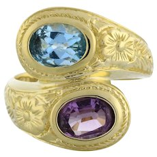 Vintage Blue Topaz Amethyst Bypass Ring 14K Etched Yellow Gold 2.00 TW Oval Gems