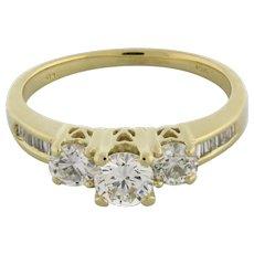 Estate 3-Stone Diamond Ring Past Present Future 14K Yellow Gold 1.00 TW Ladies 7