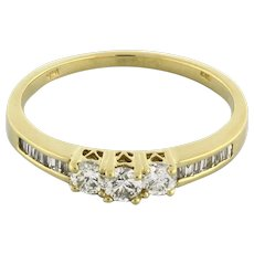 Estate 3-Stone Diamond Half Eternity Band Ring Baguettes 14K Yellow Gold 0.35 TW