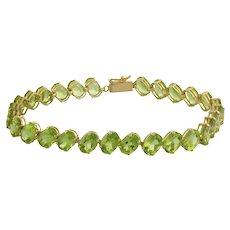 "Vintage Green Peridot Gem Line Bracelet 14K Yellow Gold 26.6 CTW Oval Gems 7.25"""