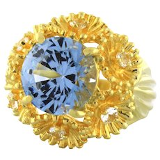 Estate Blue Topaz Quartz Floral Statement Ring 14K Yellow Gold 6.15 CTW SZ 6.25
