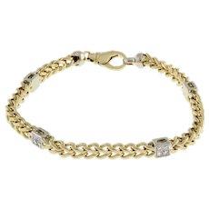 "Estate Diamond Station Franco Chain Bracelet 14K 2-Tone Gold 1.00 CTW Unisex 9"""