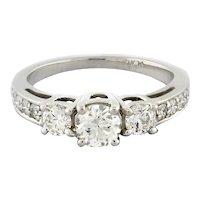 Estate 3-Stone Round Diamond Platinum Engagement Ring Diamond Accents Ladies 6