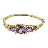 Vintage Amethyst Pearl Accent Bangle 14K Yellow Gold 5.00 CTW Oval Gems 6.25""