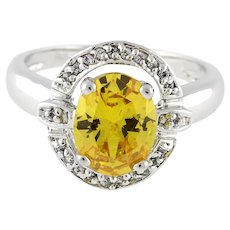 Vintage Yellow Gemstone Solitaire Diamond Accent Halo Ring 14K White Gold Size 8