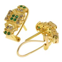 Estate 22K Yellow Gold Omega Back Drop Earrings Emeralds Diamonds Ladies 0.72 TW