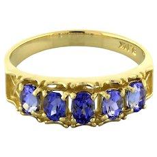 Estate Tanzanite 5-Stone Gemstone Ring 14K Yellow Gold 1.00 CTW Oval Ladies 7.25
