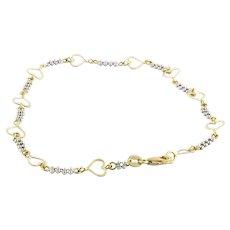 "Estate Open Heart Two-Tone 14K Gold Ball Chain Anklet Bracelet Ladies Girls 10"""