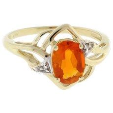 Vintage Orange Gem Diamond Accents Solitaire Ring 10K Yellow Gold Ladies Size 7