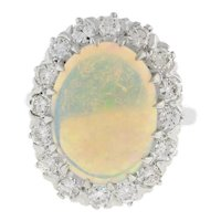 Estate Opal Diamond Cocktail Ring 14K White Gold 6.60 CTW Oval 16 x 12 mm 6.25