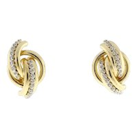 14K Yellow Gold Estate Intertwined Knot Earrings 0.50 CTW Round Dia Omega Backs