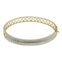 """Estate Diamond Bangle 14K Yellow Gold 3.26 CTW Round Diamonds Ladies 7.25"""""""