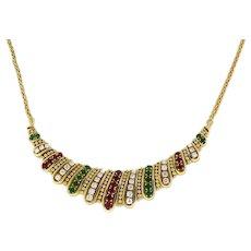 "18K Yellow Gold Estate Ruby Emerald Diamond Necklace 2.60 CTW Ladies 16"""