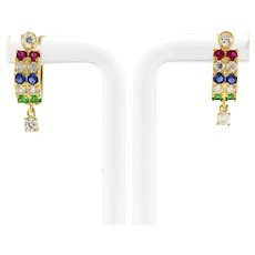 Estate Multi-Colored Gems Huggie Hoop Earrings Hanging Accent 18K Yellow Gold