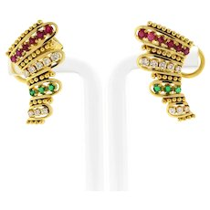 18K Yellow Gold Estate Ruby Emerald Diamond Cuff Earrings 1.47 CTW Omega Backs