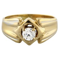 Estate Solitaire Diamond Engagement Ring 18K 2-Tone Gold 0.30 CT Rou H/SI2 6.25