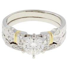 Estate Diamond Solitaire Accent Engagement Ring Set 18K W/Gold 1.08 CTW ROU 5.5