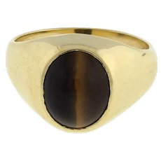 Estate Tiger's Eye Gemstone Dome Ring 10K Yellow Gold Oval Cabochon Gem 8.75
